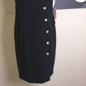 Calvin Klein Dresses - Calvin Klein Dress Sheath Size 12 Gold Button